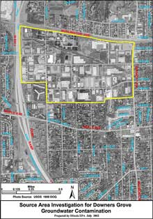 Source Area Investigation Map for Downers Grove Groundwater Contamination