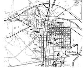 Map of Indian Acres Site and surrounding area.